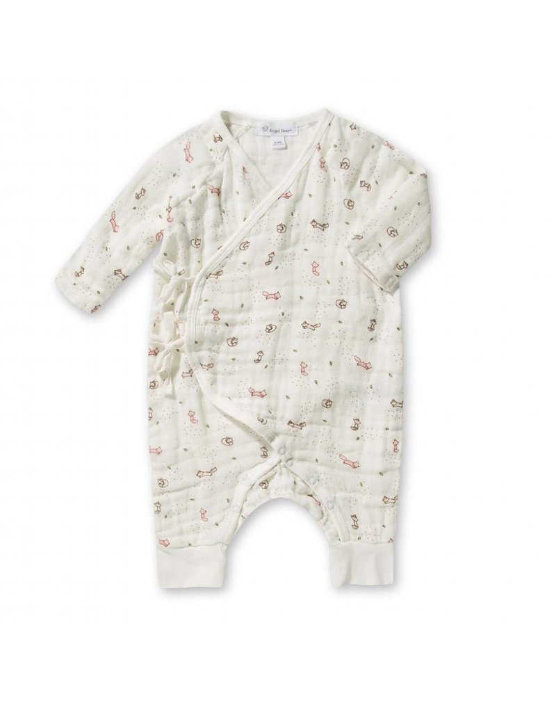 Angel Dear Ditsy Pink Fox Muslin Wrap Coverall