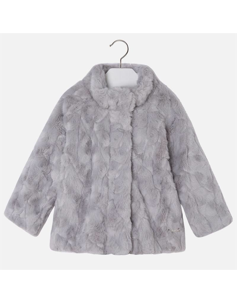 Mayoral Mayoral: Faux Fur Coat in Pearl