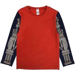 Nano Nano: Baby Orange and Navy LS Robot Tee