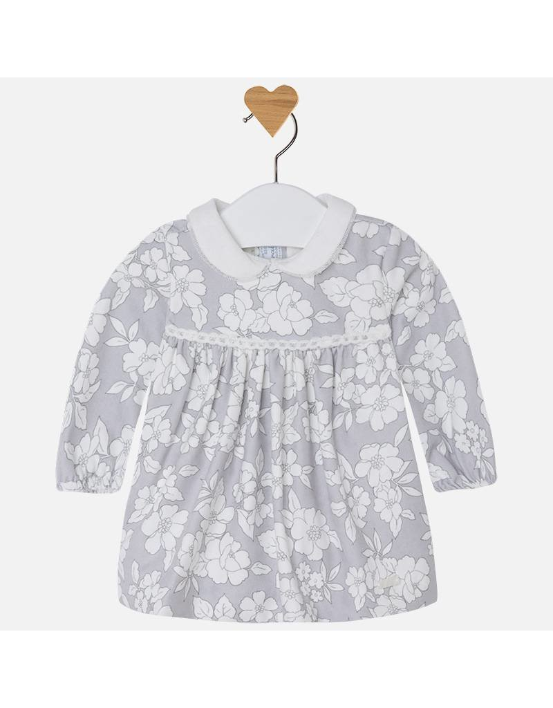 Mayoral Grey Floral Long Sleeve Baby Dress