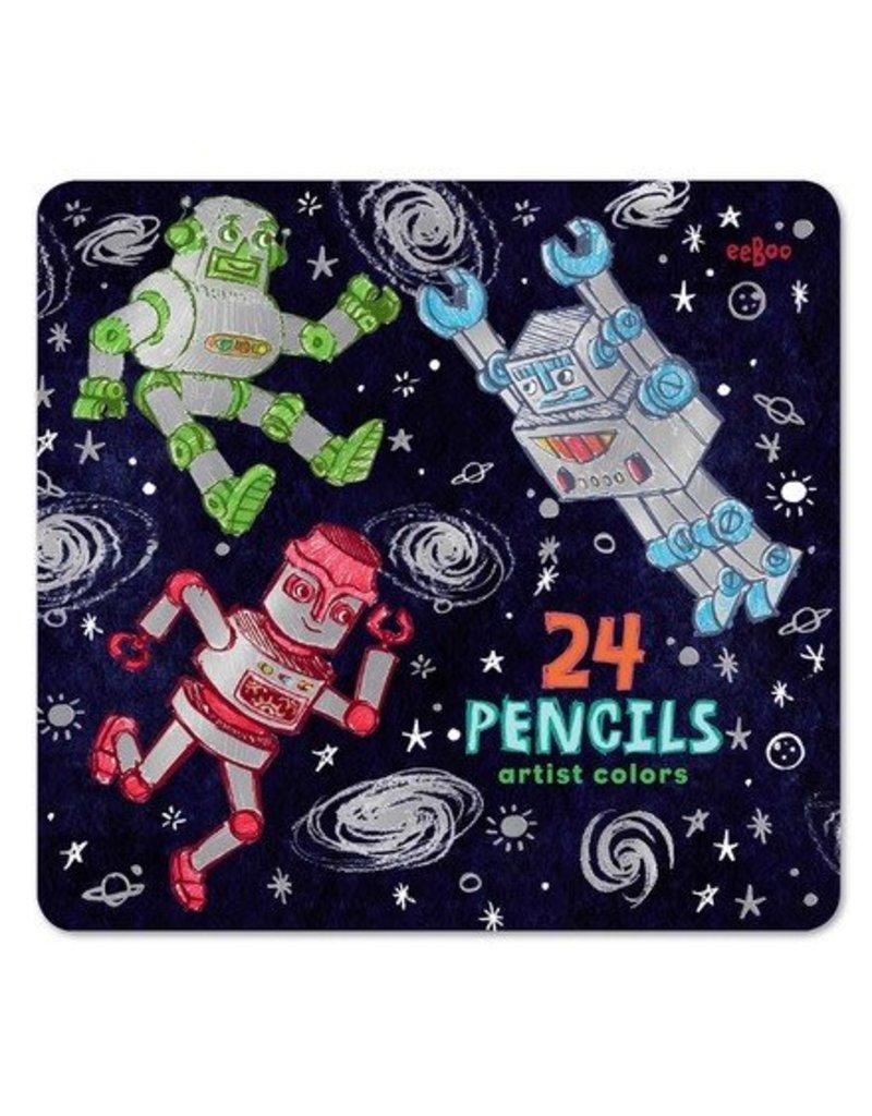 eeBoo 24 Pack Colored Pencils: Silver Robots