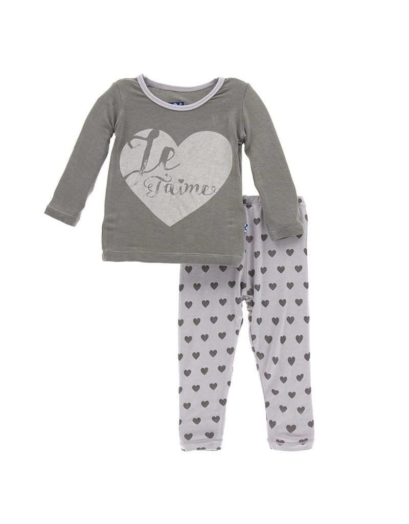 Kickee Pants Feather Hearts Two Piece Pajama Set by Kickee Pants