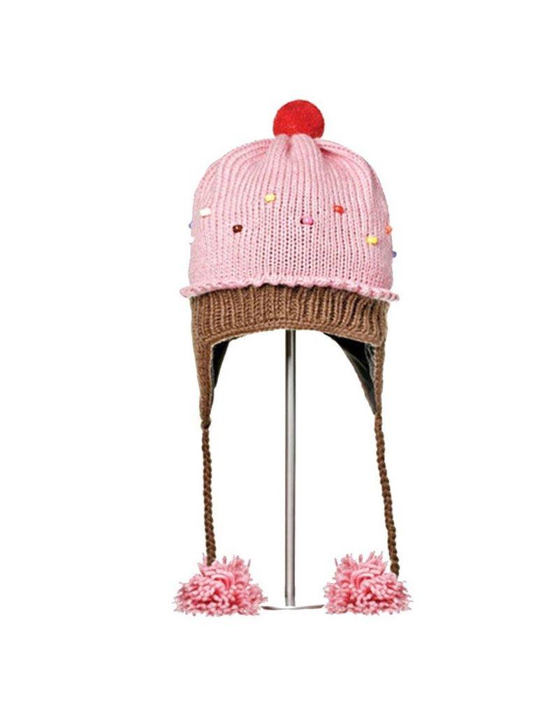 KnitWits Strawberry Cupcake Pilot Hat, pink, kids