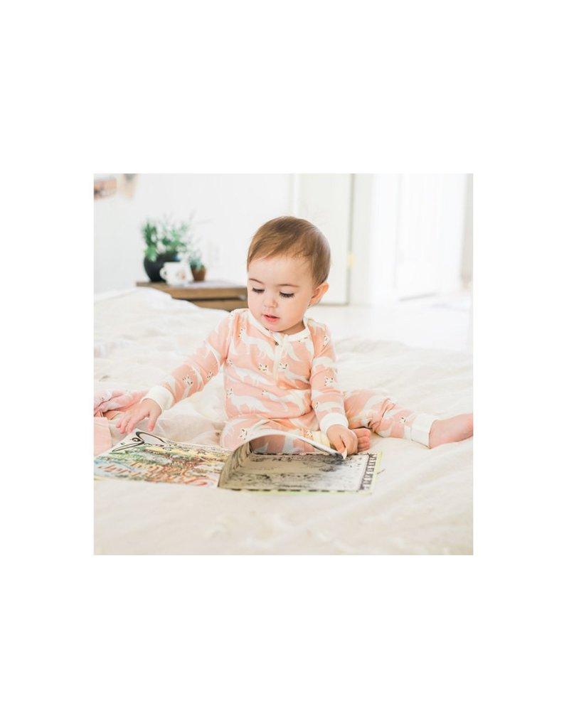 Milkbarn Zipper Pajama:  Pink Fox