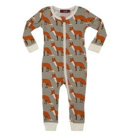 Milkbarn Zipper Pajama:  Orange Fox