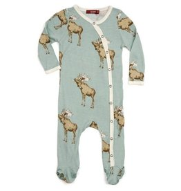 Milkbarn Kids Milkbarn   Blue Moose Footie (Bamboo)