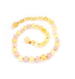 Baltic Amber Teething Necklace |Raw Lemon & Rose Quartz