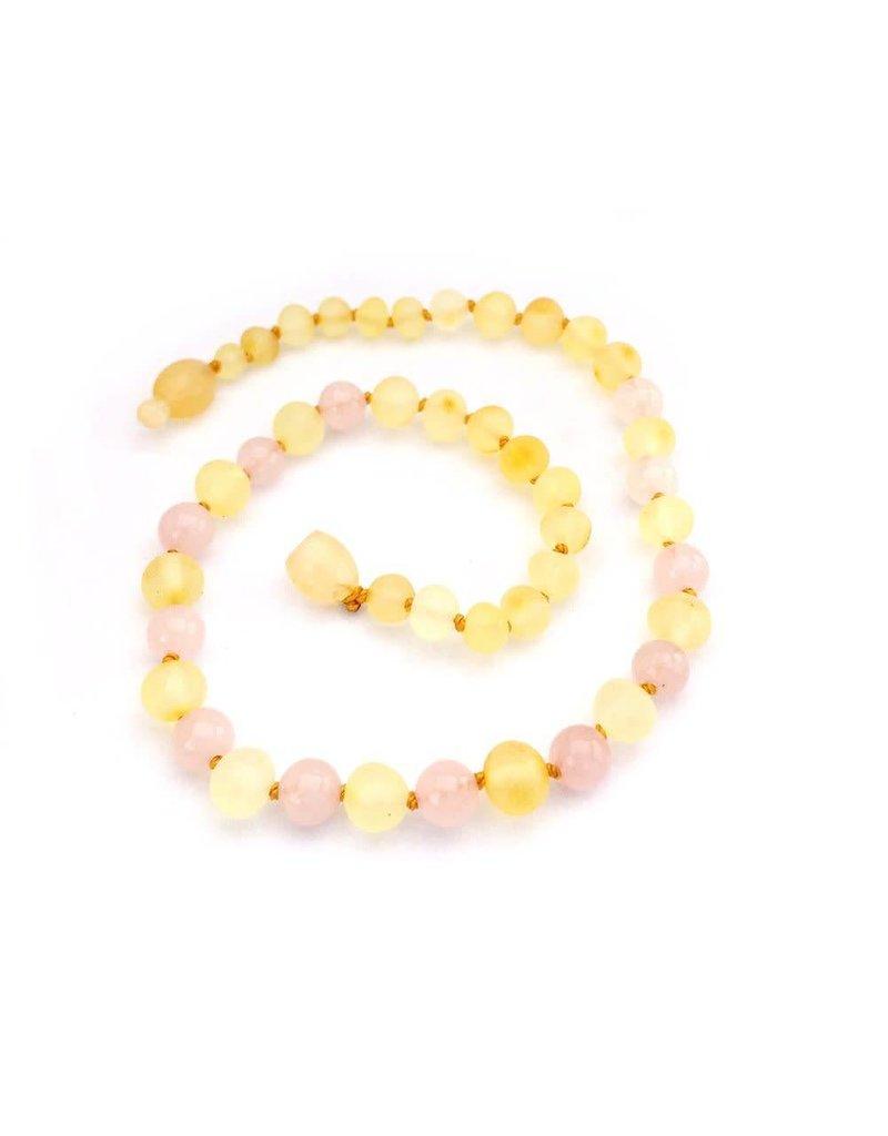 Baltic Amber Teething Necklace  Raw Lemon & Rose Quartz