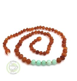 Baltic Amber Teething Necklace |Raw Cognac & Amazonite