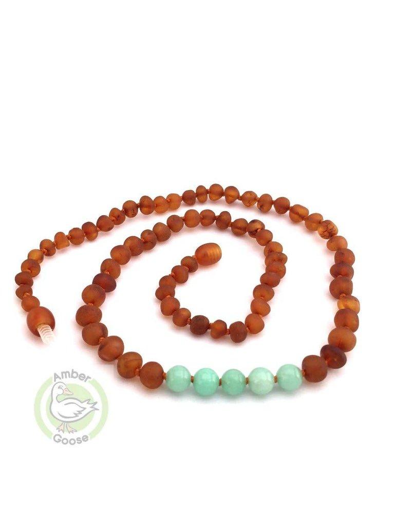 Baltic Amber Teething Necklace |Raw Cognac & Amazonite