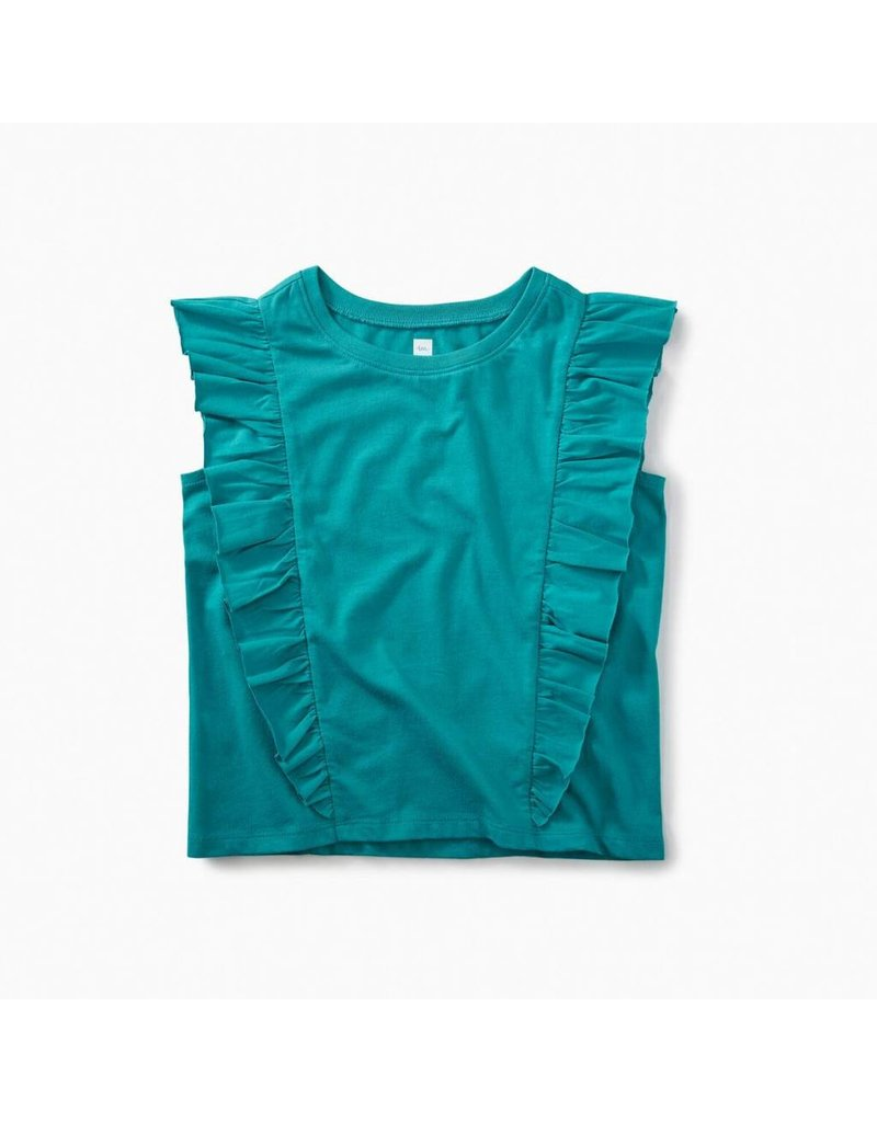Tea Collection Tea Collection| Short Sleeve Ruffle Knit Top
