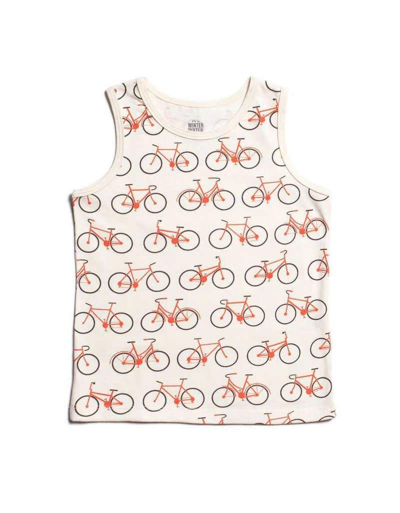 Winter Water Factory Winter Water Factory: Organic Cotton Tank Top in Bicycles