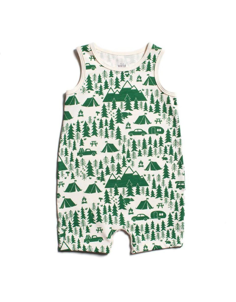 Winter Water Factory Winter Water Factory: Organic Cotton Tank Top Romper in Campground