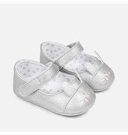 Mayoral Mayoral: Silver Mouse Mary Jane Crib Shoe