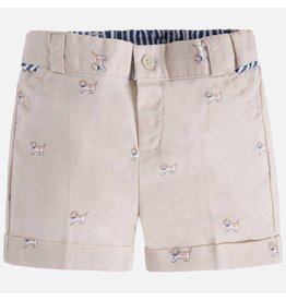 Mayoral Mayoral| Puppy Print Linen Shorts
