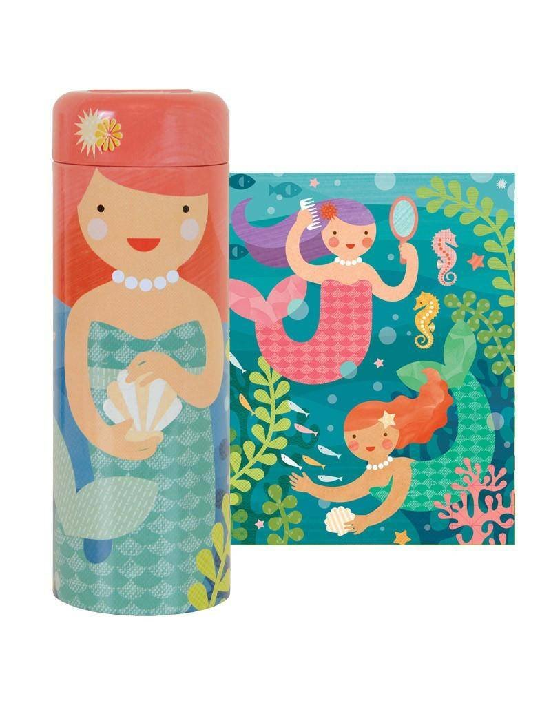 Petit Collage Tin Canister Puzzle: 64-piece Playful Mermaids