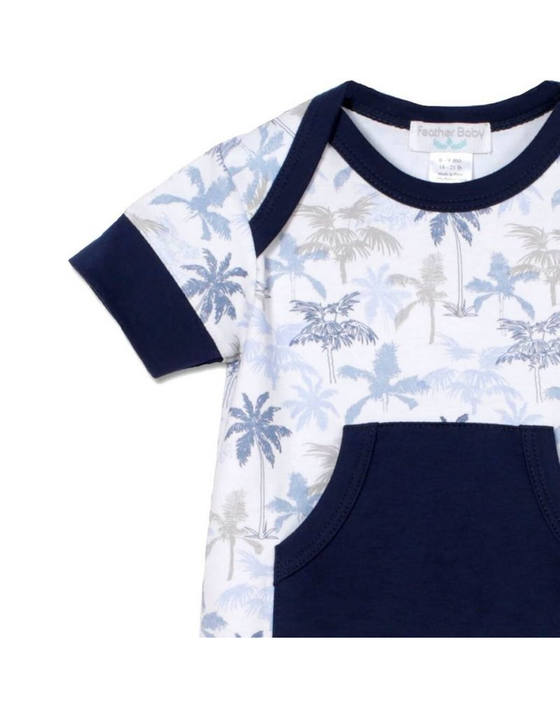 Feather Baby: Kangaroo Romper, Palm Trees