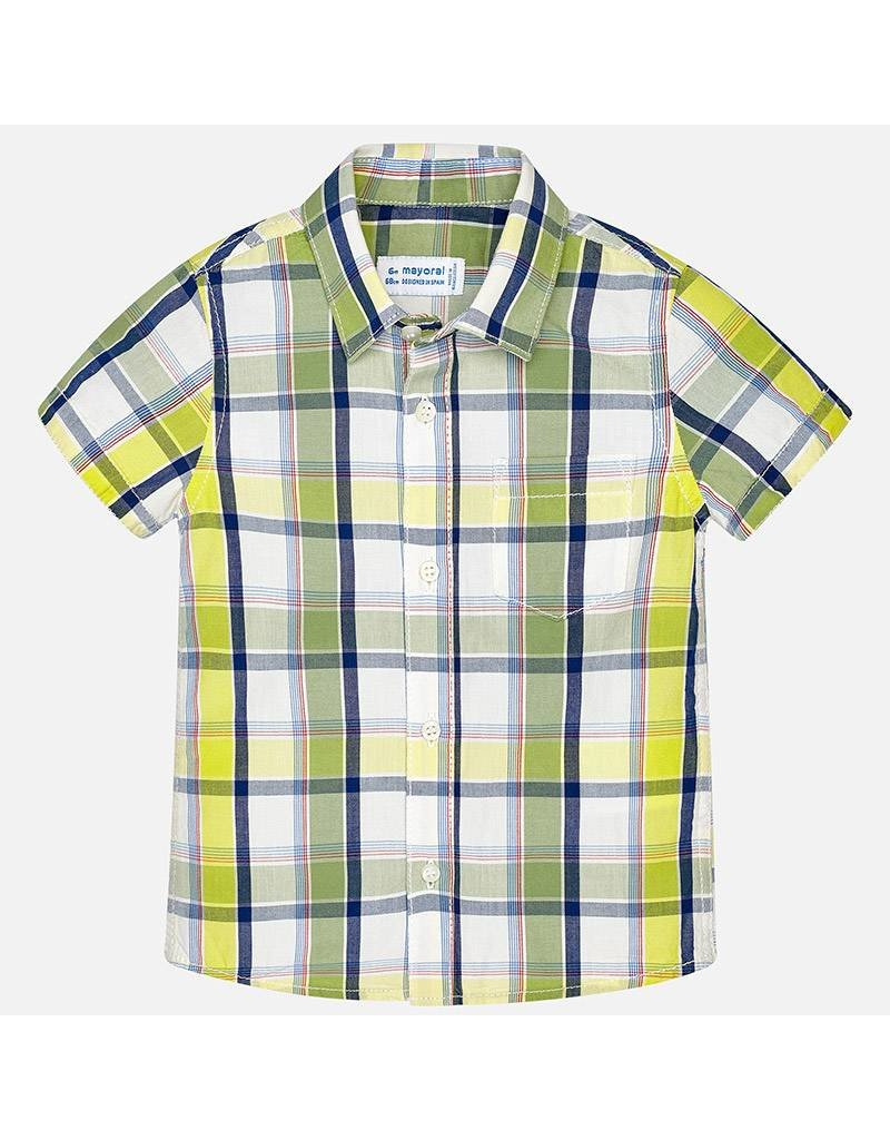 Mayoral Mayoral| Short Sleeve Plaid Button Up Lime
