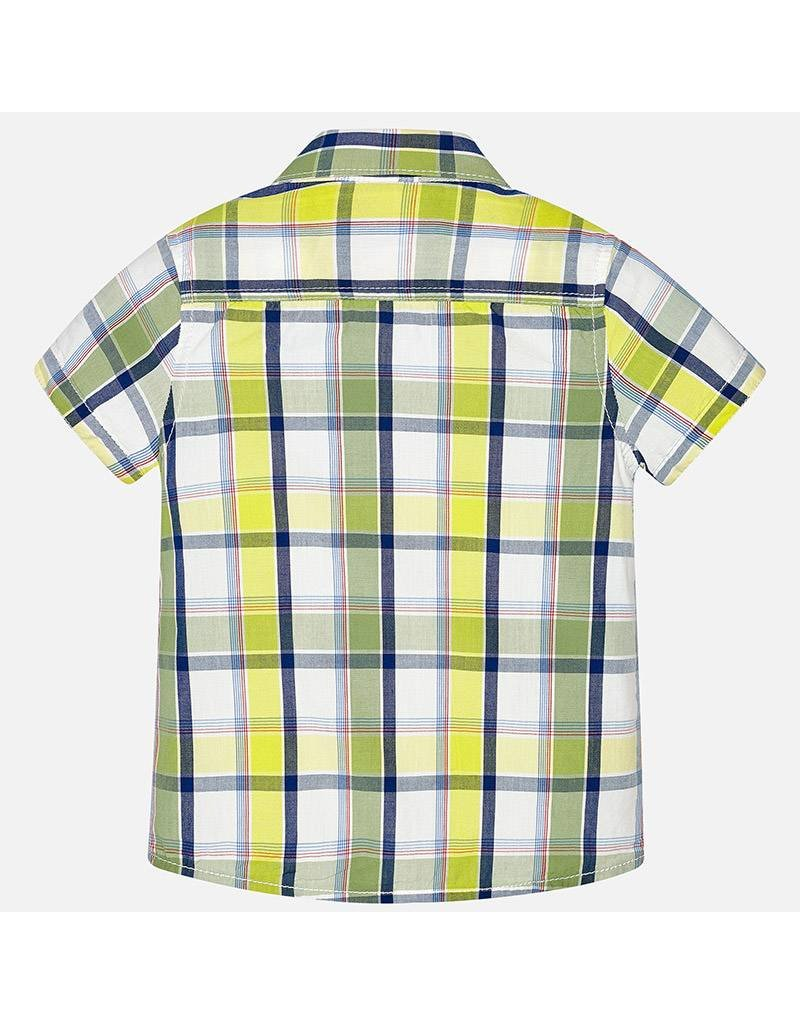 Mayoral SALE! Mayoral| Short Sleeve Plaid Button Up Lime