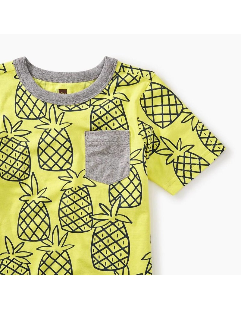 Tea Collection Pineapple Print Pocket Tee
