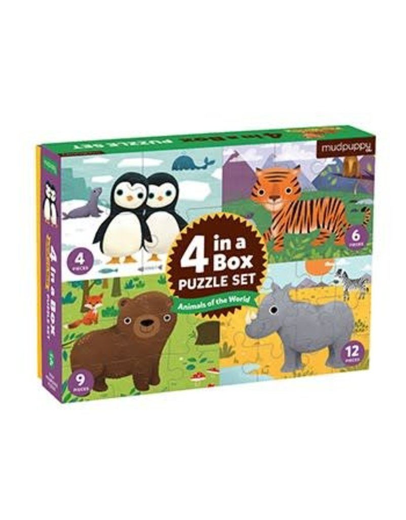 4 in a Box Puzzle | Animals of the World