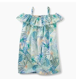 Tea Collection Tea Collection| Tropical Palms Ruffle Neck Dress