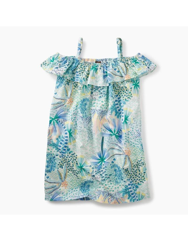 Tea Collection Tea Collection| Tropical Palms Ruffle Neck Dress