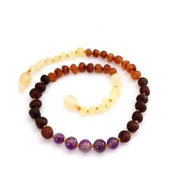 Baltic Amber Teething Necklace | Raw Rainbow & Amethyst