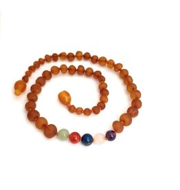 Baltic Amber Teething Necklace |Raw Cognac & Rainbow
