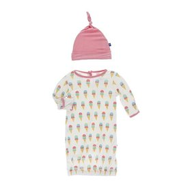 Kickee Pants Kickee Pants | Ice Cream Layette Gown & Knot Hat Set
