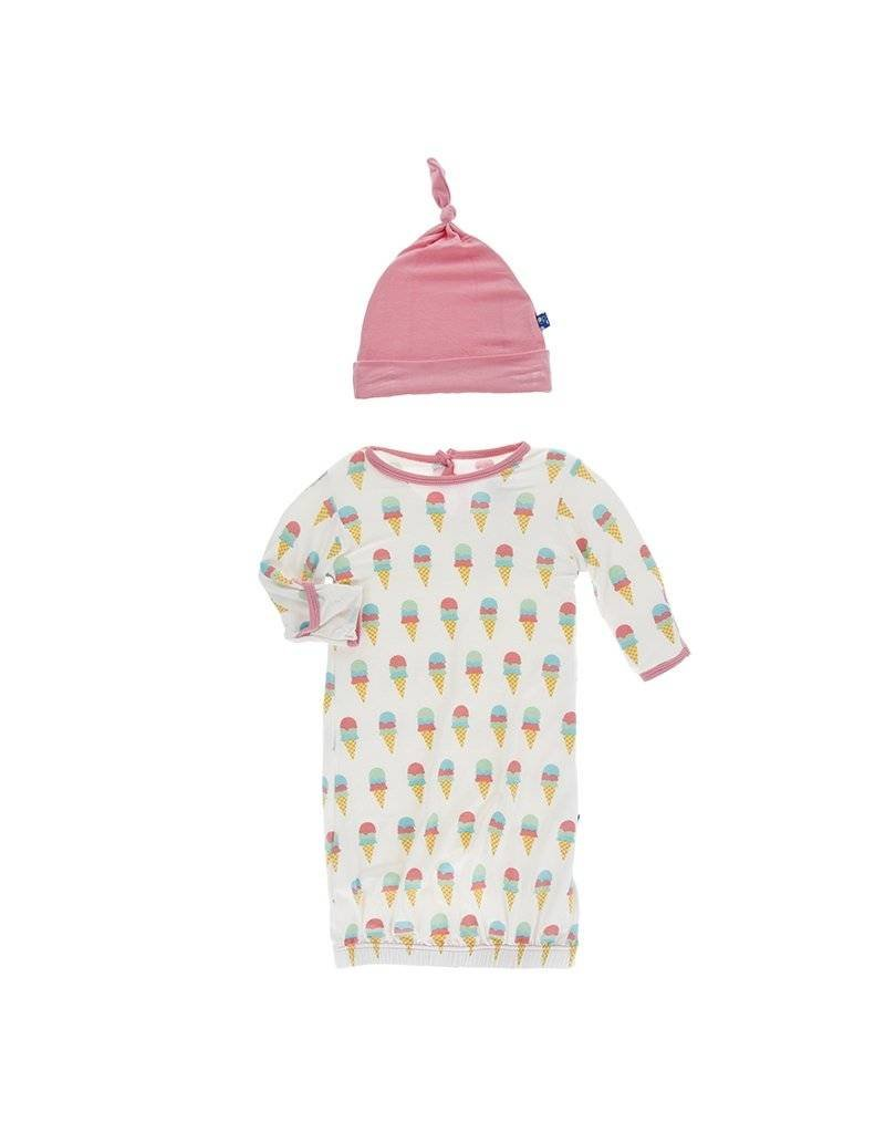 Kickee Pants Kickee Pants|Layette Gown & Knot Hat Set In Ice Cream