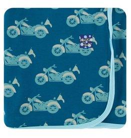 Kickee Pants Kickee Pants |Swaddling Blanket in Heritage Blue Motorcycles