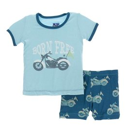 Kickee Pants Kickee Pants | Motorcycles Short Sleeve Pajama Set