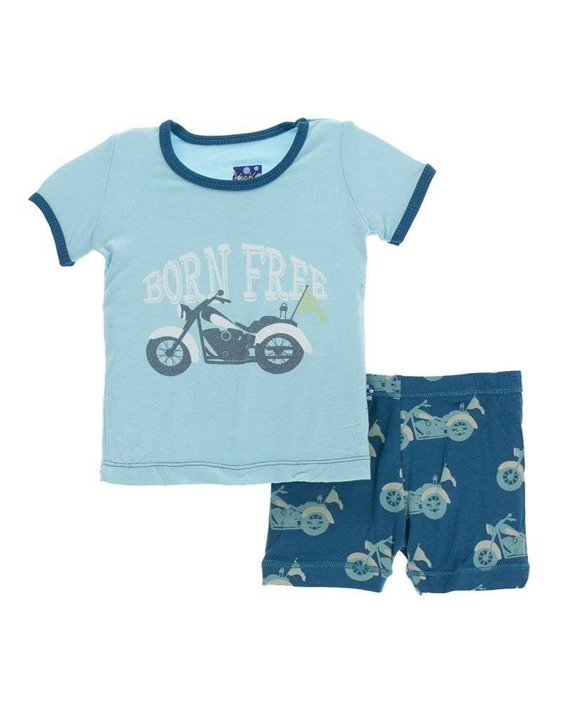 Kickee Pants Kickee Pants Short Sleeve Pajama Set W/ Shorts In Motorcycles