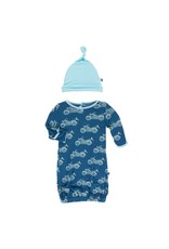Kickee Pants Kickee Pants|Layette Gown & Single Knot Hat in Motorcycles