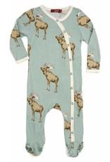 Milkbarn Kids Milkbarn | Blue Moose Footie (Bamboo)