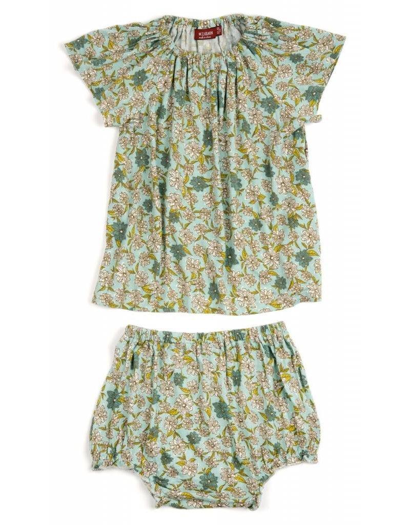 Milkbarn Kids Milkbarn    Blue Floral Dress & Bloomer Set (Bamboo)