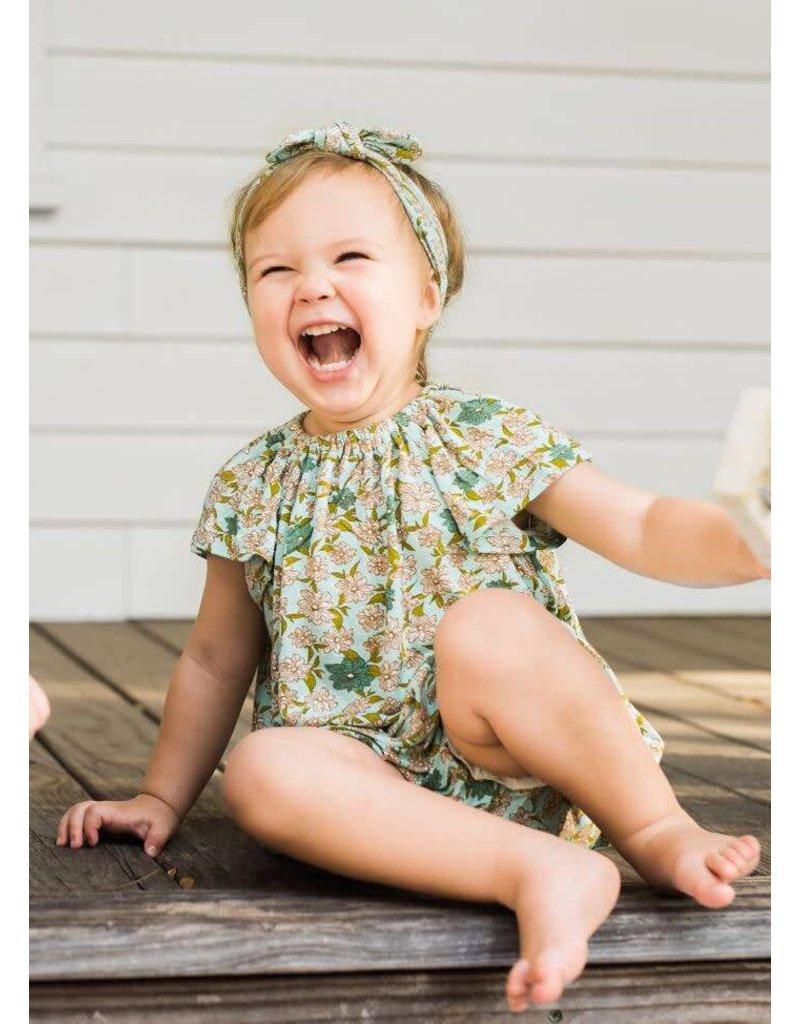 Milkbarn Kids Milkbarn |  Blue Floral Dress & Bloomer Set (Bamboo)
