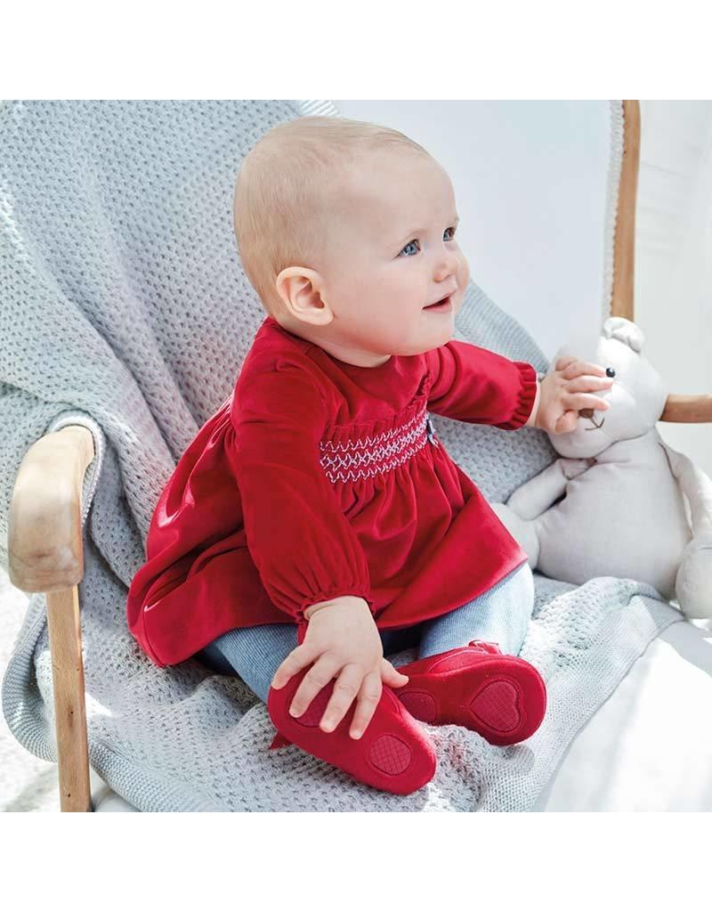 Mayoral Mayoral | Smocked Red Velvet Baby Dress