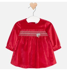 Mayoral Mayoral | Smocked Red Velvet Baby Dress