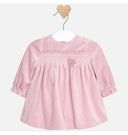 Mayoral Mayoral | Smocked Mauve Velvet Baby Dress