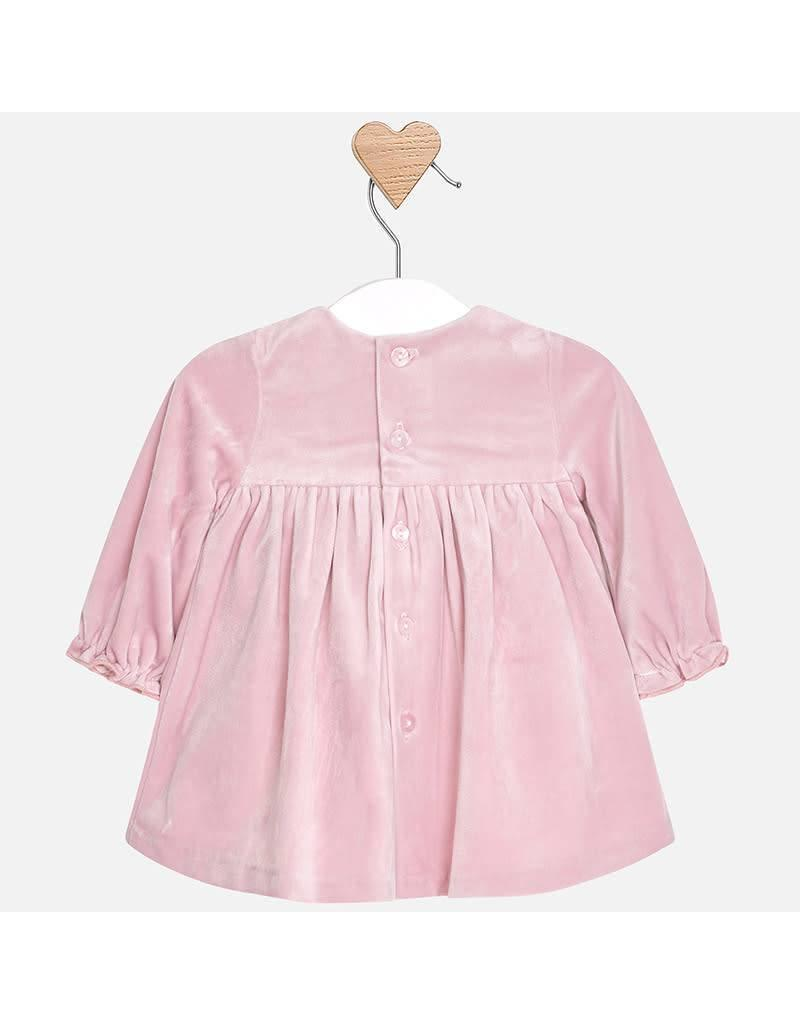Mayoral Mayoral | Smocked Mauve Velvet Baby Dress