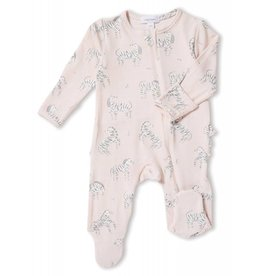 Angel Dear Angel Dear | Pink Zebra Zipper Footie