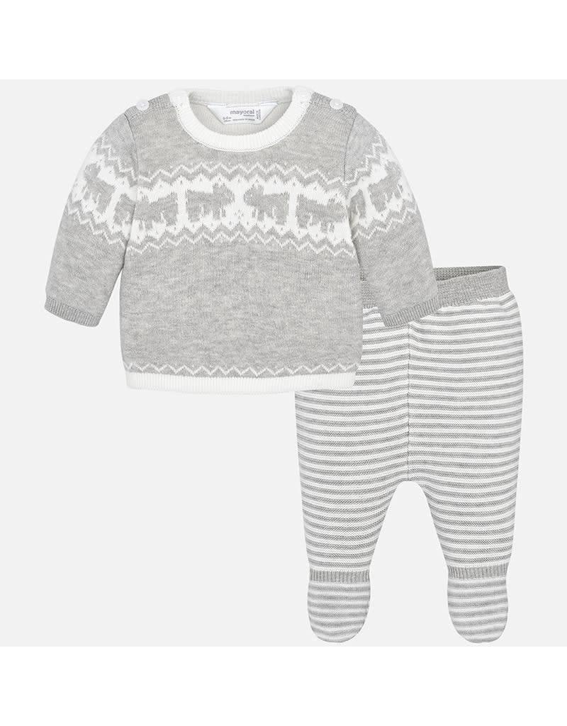 Mayoral Mayoral | Bears Knit Top & Footed Pant Set