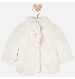 Mayoral Mayoral | Bow Detail Faux Fur Baby Coat