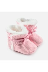 Mayoral Mayoral |Fur Trim Knit Bootie in Baby Pink