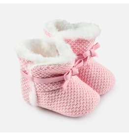 Mayoral Mayoral | Fur Trim Knit Bootie in Baby Pink