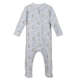 Feather Baby | Zipper Footed Romper in Foxy Blue