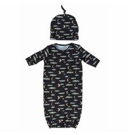 Nohi Kids Nohi Kids | Bamboo Blend Night Sky Gown & Hat Set