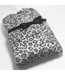 Studio 707 Snow Leopard Print Micro-Fleece Bath Robe